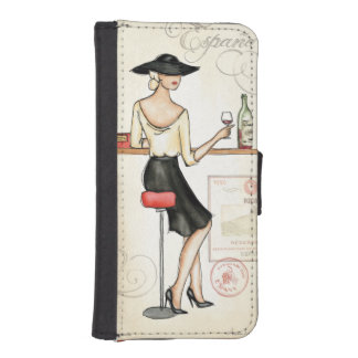 Woman Drinking Spanish Wine iPhone SE/5/5s Wallet Case