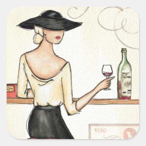Woman Drinking Spanish Wine Square Sticker
