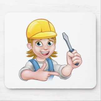 Woman Electrician Holding Screwdriver Mouse Pad
