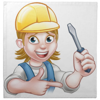 Woman Electrician Holding Screwdriver Napkin