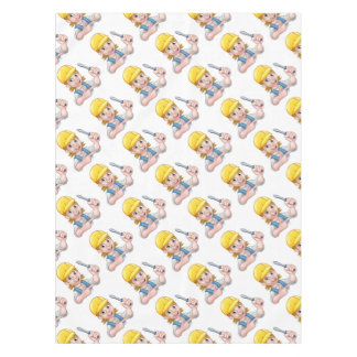 Woman Electrician Holding Screwdriver Tablecloth