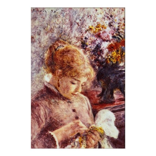 Woman Embroidering by Pierre Renoir Posters