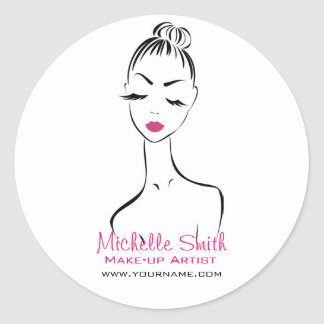 Woman face Make-up artist company branding Classic Round Sticker