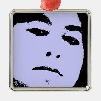 woman face Silver-Colored square decoration