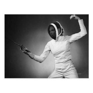 Woman Fencing Postcard