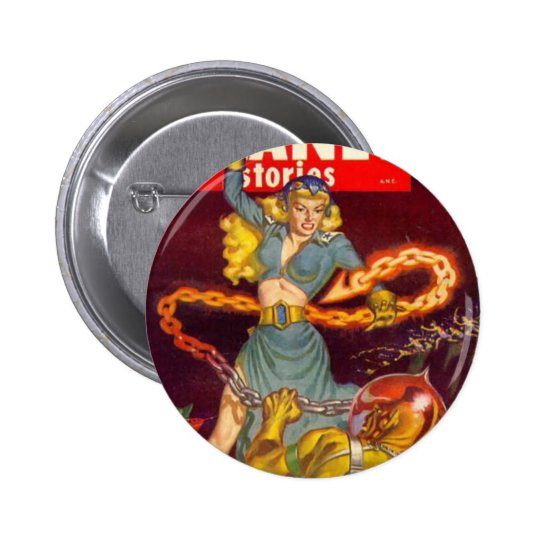 Woman Fighting Monster 6 Cm Round Badge