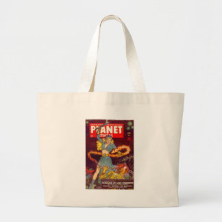 Woman Fighting Monster Large Tote Bag