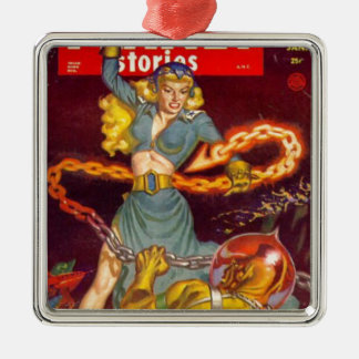 Woman Fighting Monster Metal Ornament