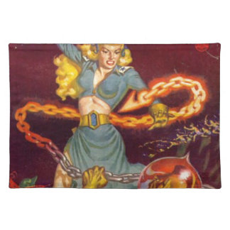 Woman Fighting Monster Placemat