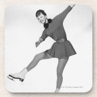 Woman Figure Skating Beverage Coaster