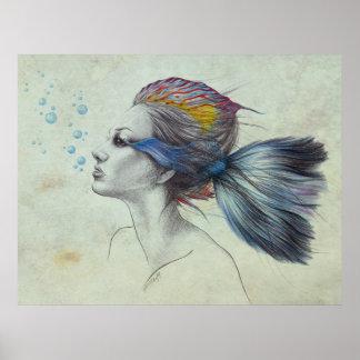 Woman fish surreal art textured Poster print