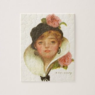 Woman Flower Classy  Vintage Jigsaw Puzzle