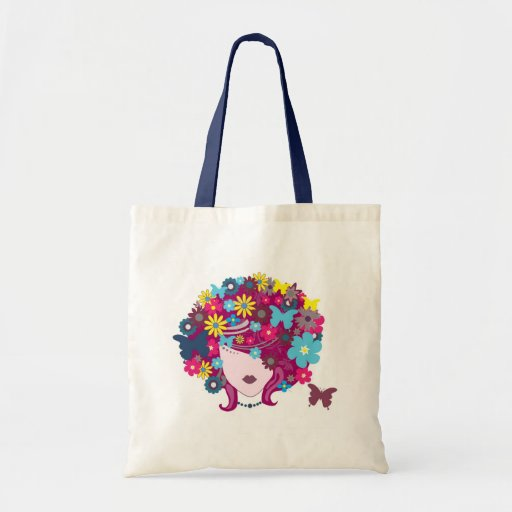 Woman Flowers Budget Tote Canvas Bag