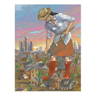 Woman Gardening postcard