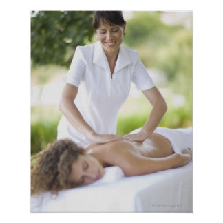 Woman getting a massage poster