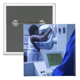 Woman getting mammogram 15 cm square badge