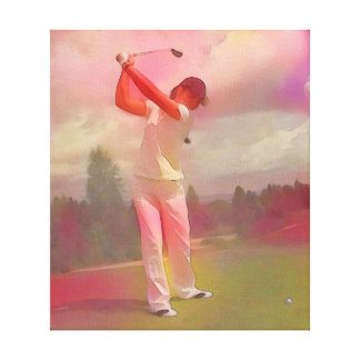 Woman Golfer - Art On Canvas