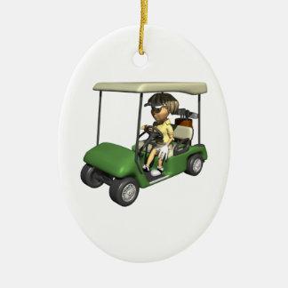 Woman Golfer Cart Ceramic Ornament