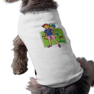 woman golfer graphic sleeveless dog shirt