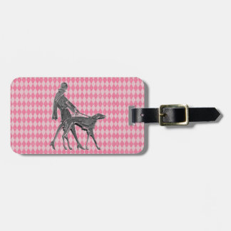 Woman Greyhound and Pink Argyle Luggage Tag