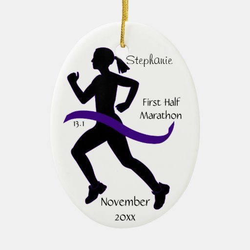 Woman Half Marathon Runner Ornament in Purple
