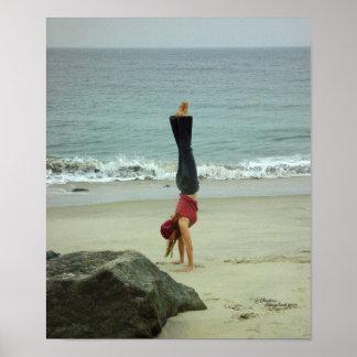 Woman handstand ocean Poster