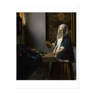 Woman Holding a Balance by Johannes Vermeer Postcard