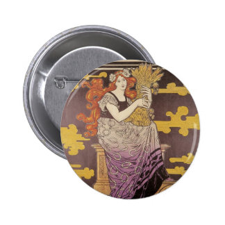 Woman Holding A Bundle of Wheat 6 Cm Round Badge