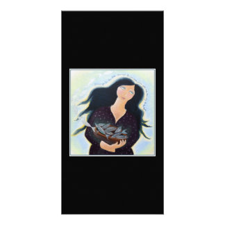 Woman Holding Fish in a Bowl. On Black. Customised Photo Card