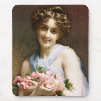 Woman Holding Flowers Mouse Pad