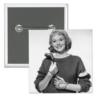 Woman Holding Golf Club 15 Cm Square Badge