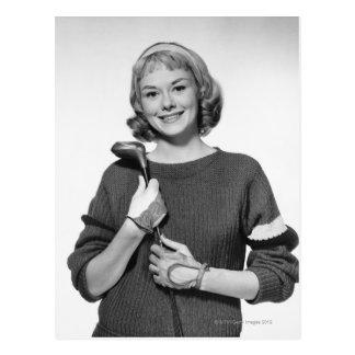 Woman Holding Golf Club Postcard