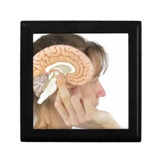 Woman holding hemisphere model  against head gift box