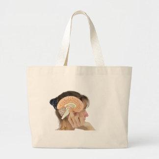 Woman holding hemisphere model  against head large tote bag