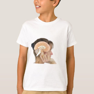 Woman holding hemisphere model  against head T-Shirt