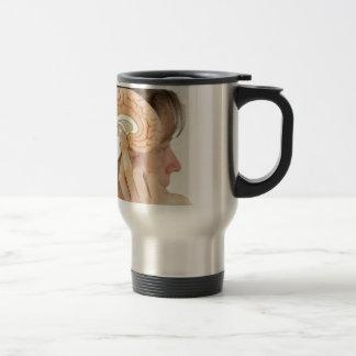 Woman holding hemisphere model  against head travel mug