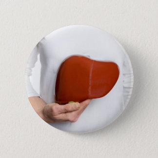 Woman holding human liver model at white body 6 cm round badge