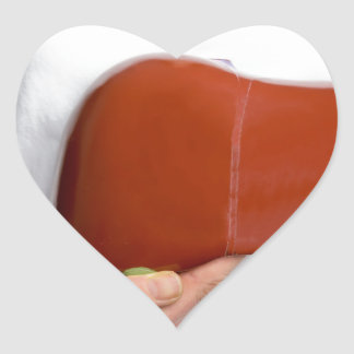 Woman holding human liver model at white body heart sticker