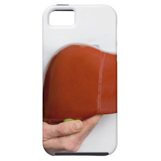 Woman holding human liver model at white body iPhone 5 cases