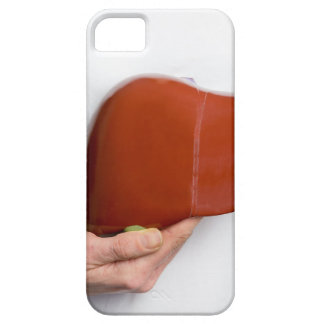 Woman holding human liver model at white body iPhone 5 covers