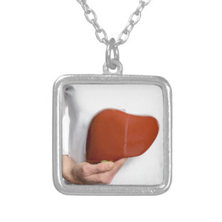 Woman holding human liver model at white body silver plated necklace