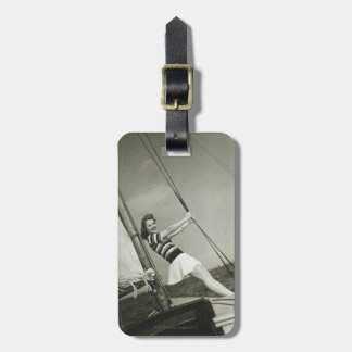 Woman Holding Rigging on Yacht Bag Tag