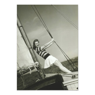 Woman Holding Rigging on Yacht Card