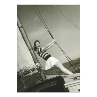 Woman Holding Rigging on Yacht Custom Invite