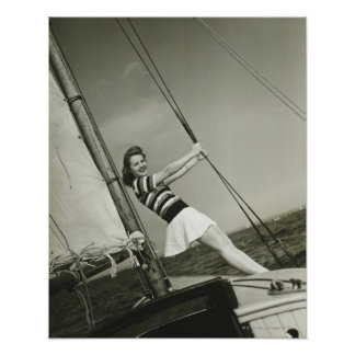Woman Holding Rigging on Yacht Poster
