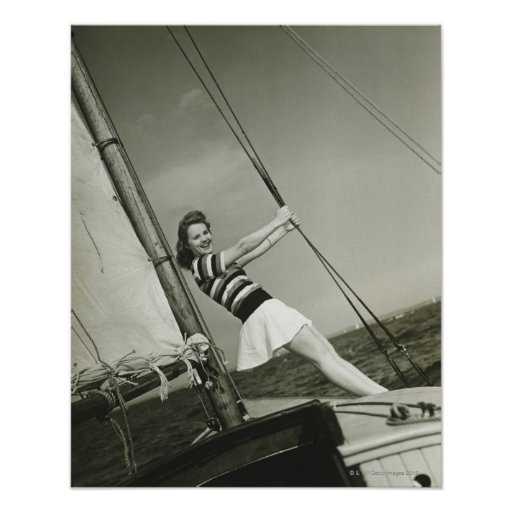 Woman Holding Rigging on Yacht Print