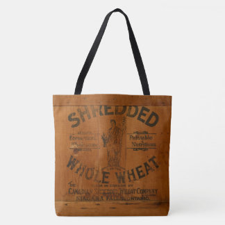 Woman Holding Sheaf of Wheat Antique Wood Crate Tote Bag
