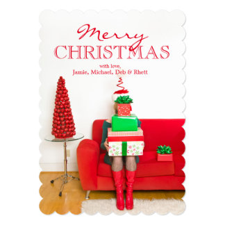 Woman holding stack of Christmas gifts 13 Cm X 18 Cm Invitation Card