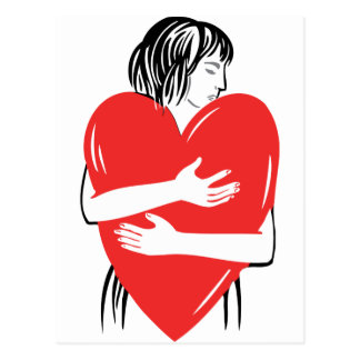 Woman hugging a red heart postcard
