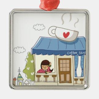 Woman in a coffee shop Silver-Colored square decoration